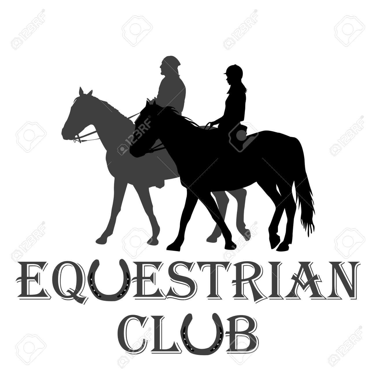 Equestrian Club Advertising With Silhouettes Of Horse Riders Ilustraciones Vectoriales Clip Art Vectorizado Libre De Derechos Image 109724662