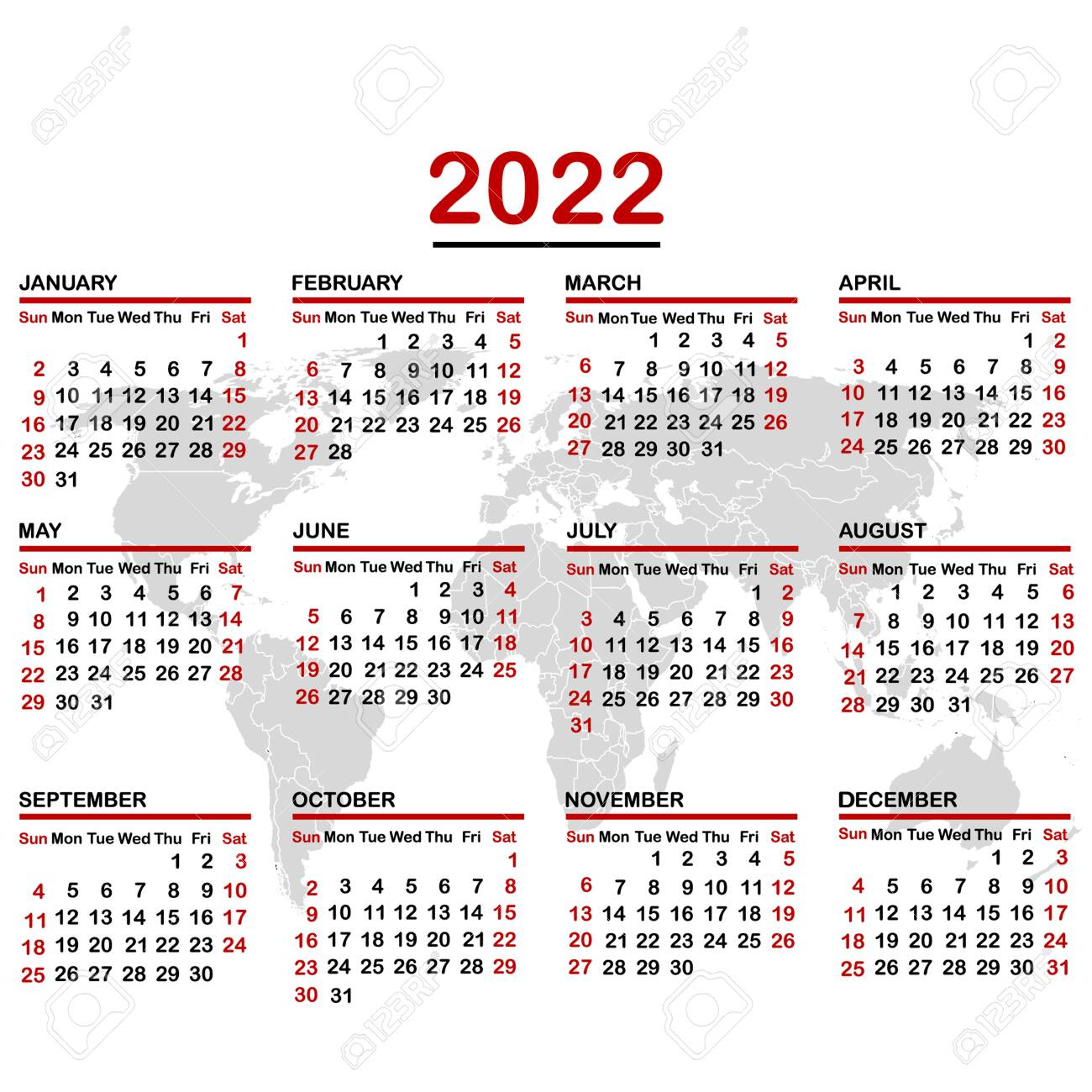 Light The World 2022 Calendar.2022 Calendar With World Map Royalty Free Cliparts Vectors And Stock Illustration Image 136644146