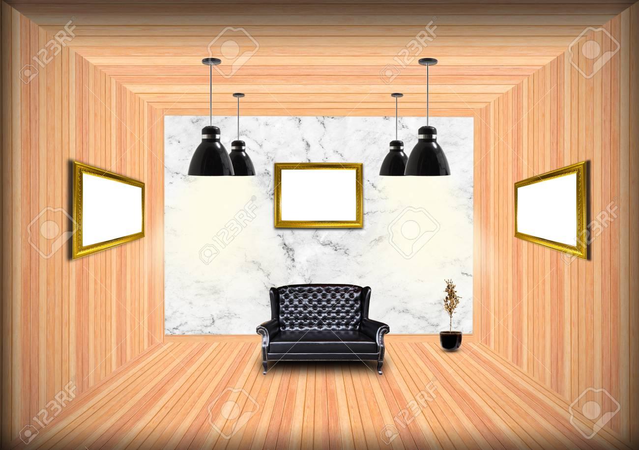 Cadre Au Dessus Du Canapé cadre d'image vide sur un mur au-dessus d'un canapé dans un salon (rendu 3d)