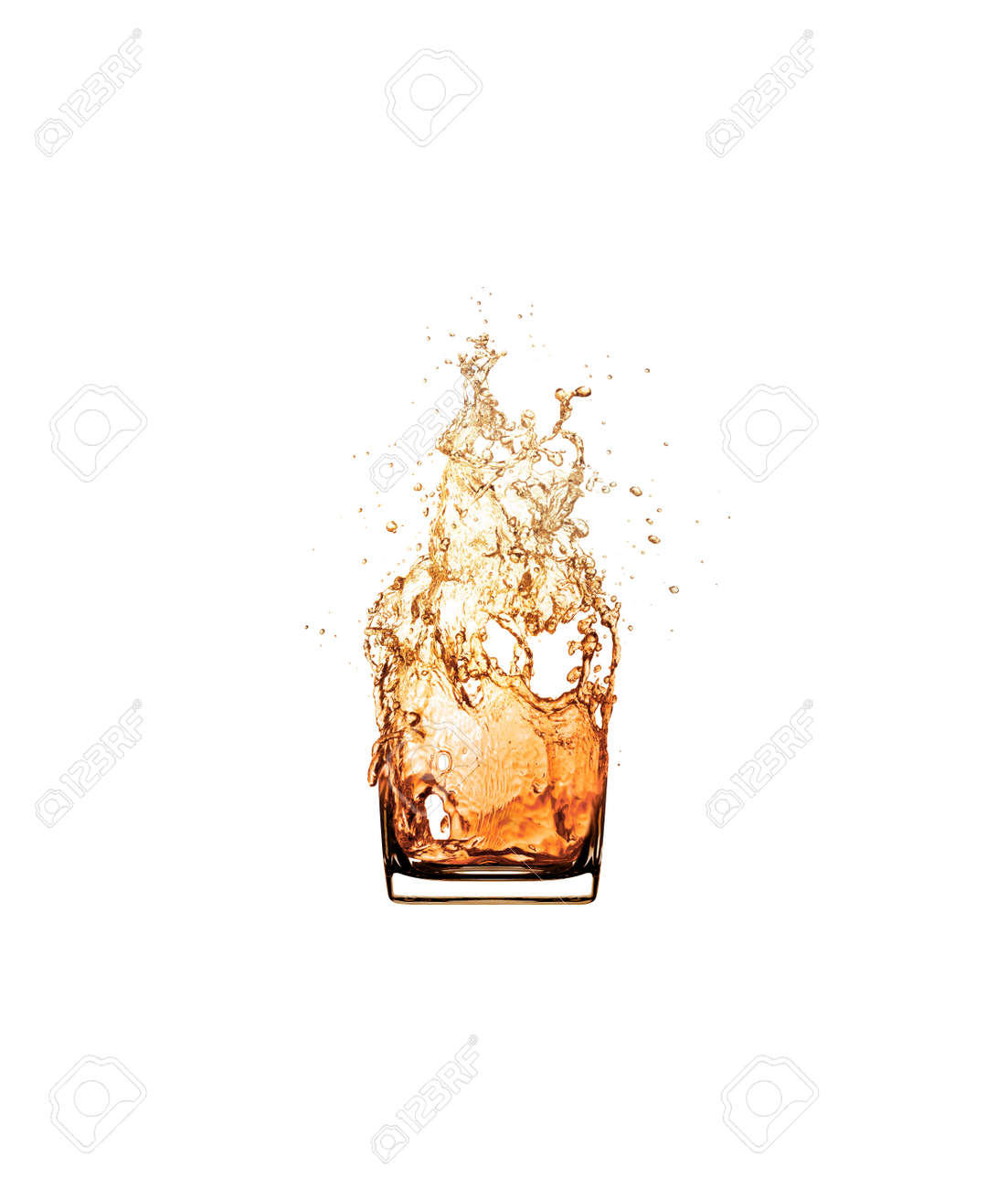 whiskey splash drinking glass isolated on white background. - 127337748