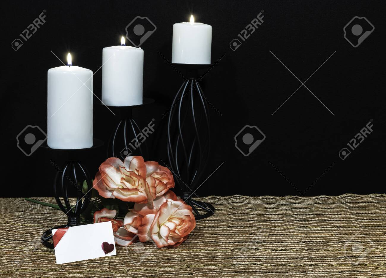 Beautiful Orange And White Roses White Candle Perched On Black Stock Photo Picture And Royalty Free Image Image 115951112