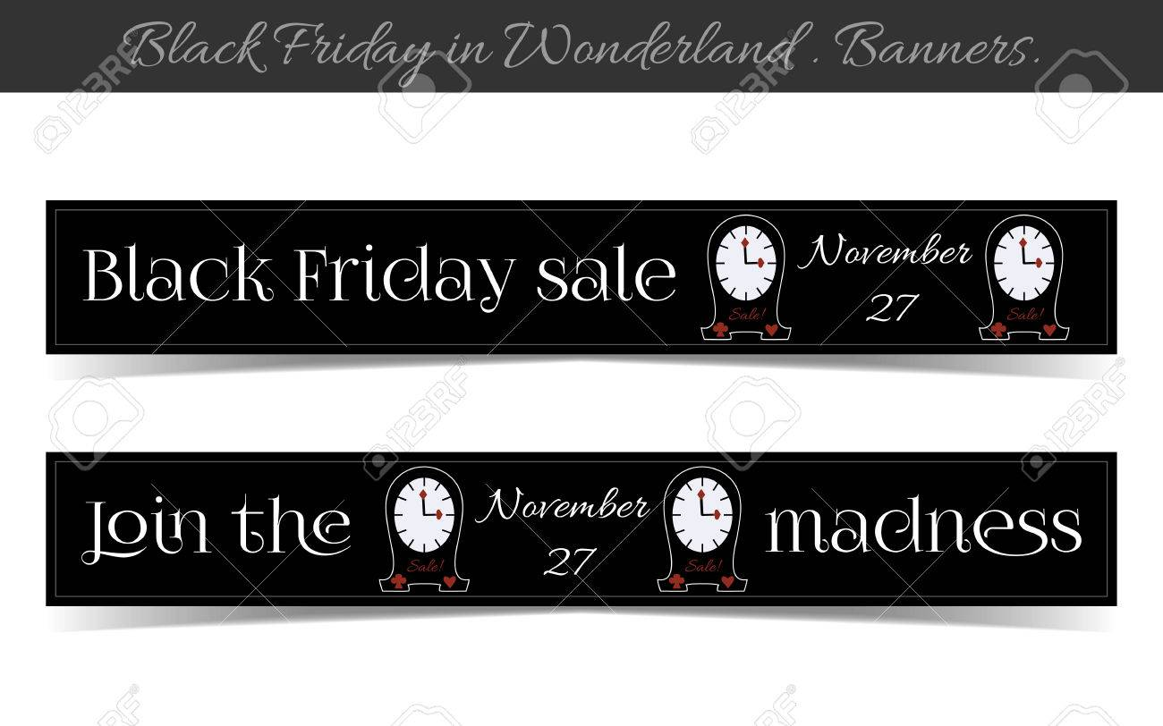 Banner Black Friday Sale Im Wunderland Uhren Vektor Illustration