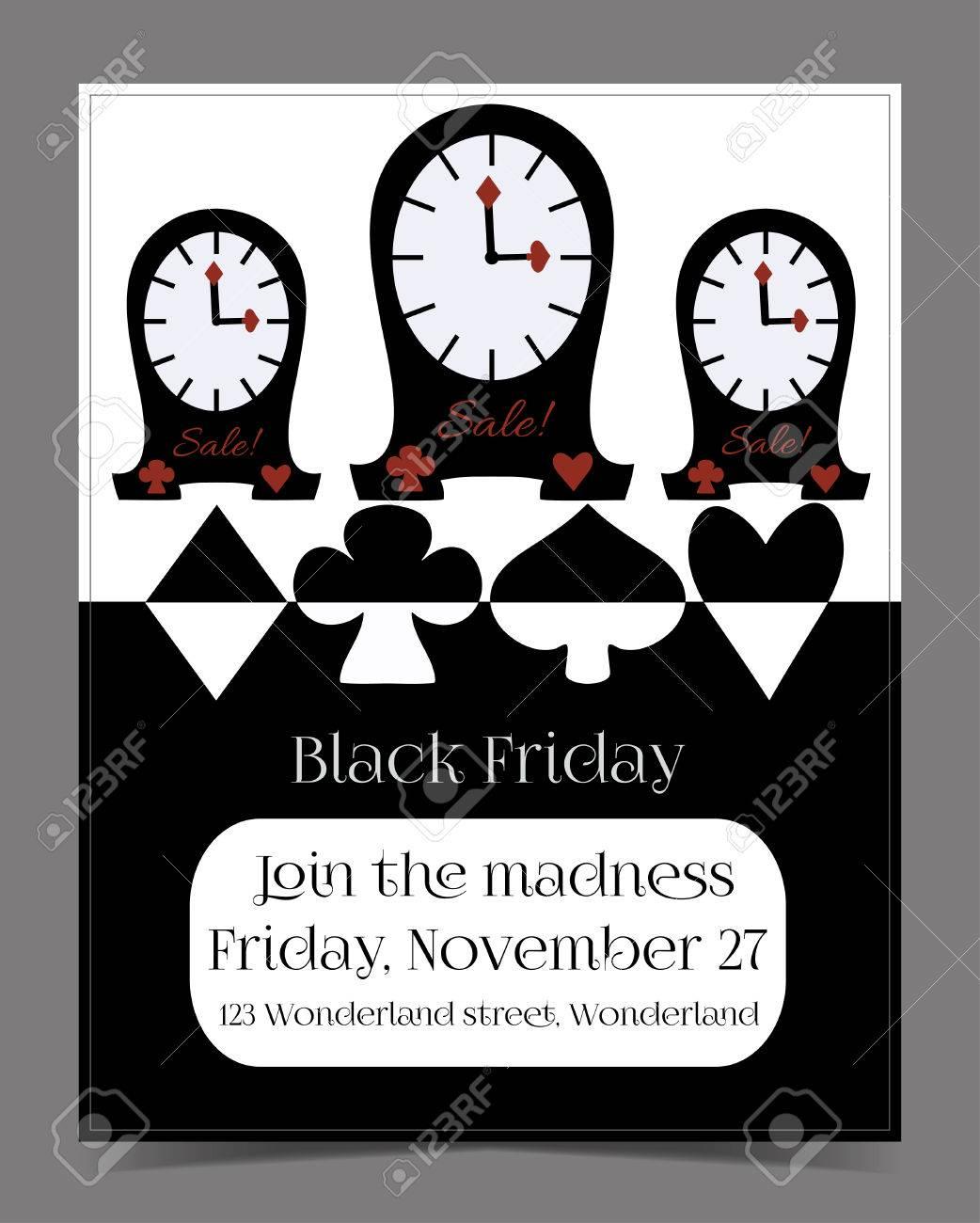Uhren Banner Karten Broschüre Black Friday Im Wunderland Druck