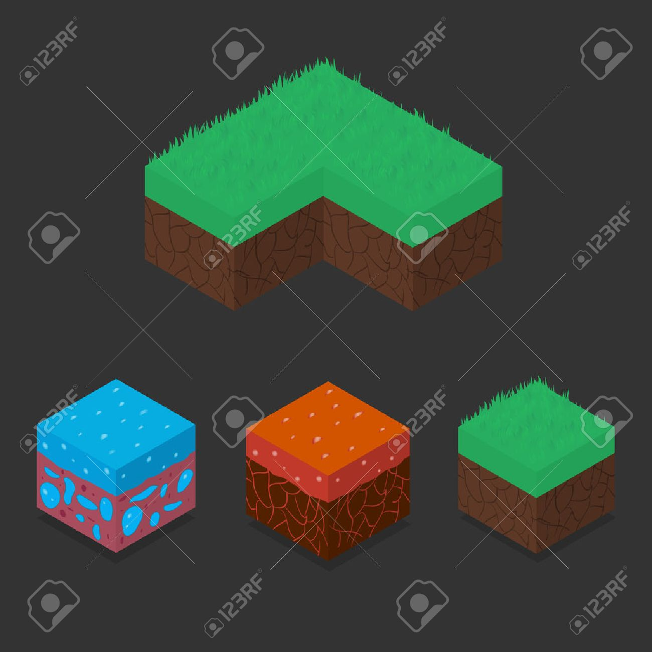 Collection set of 3D Isometric Landscape Cubes - Ground Grass,