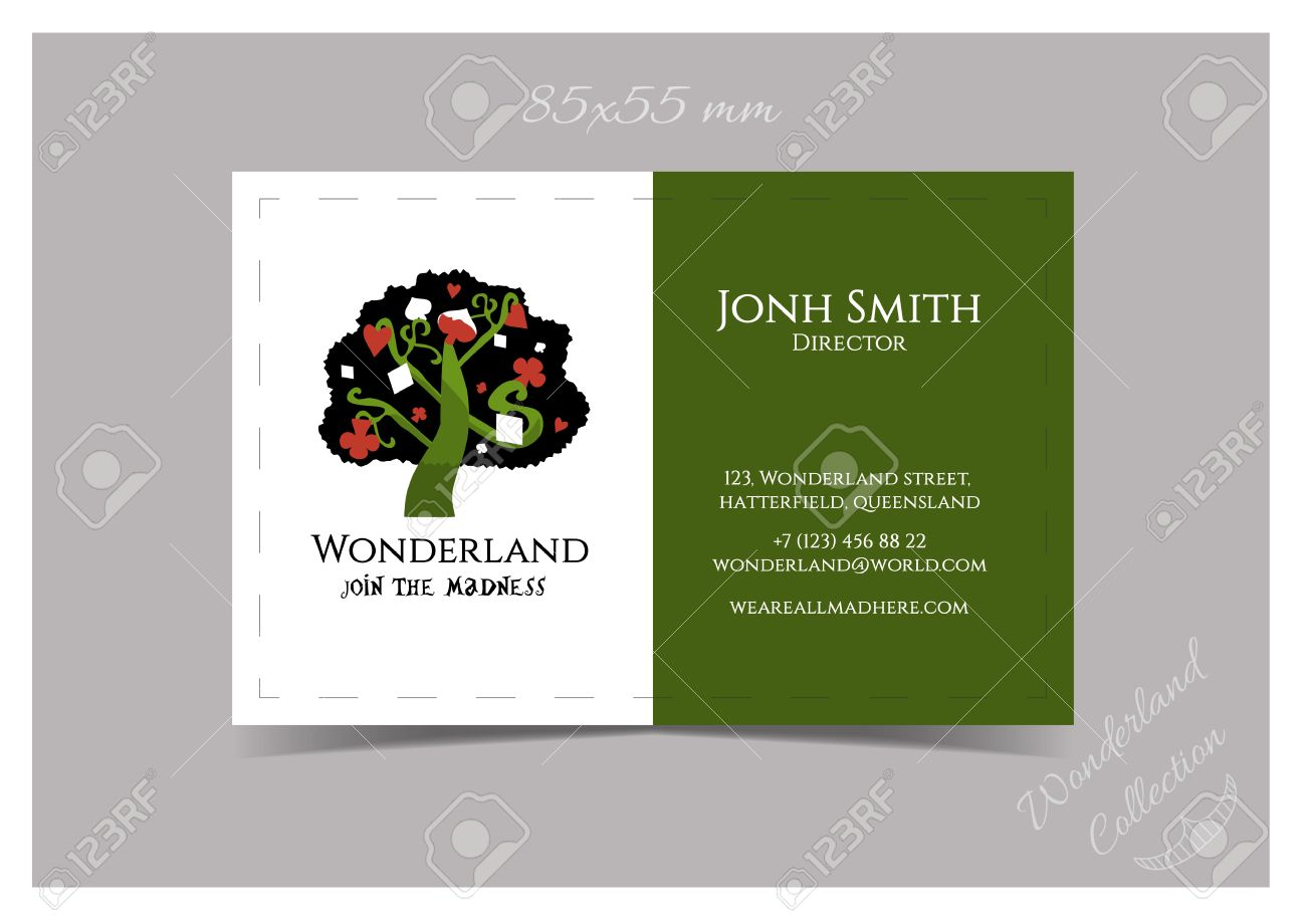 Business card template size 85x55 tree from wonderland garden business card template size 85x55 tree from wonderland garden or forest print ready vector reheart Choice Image