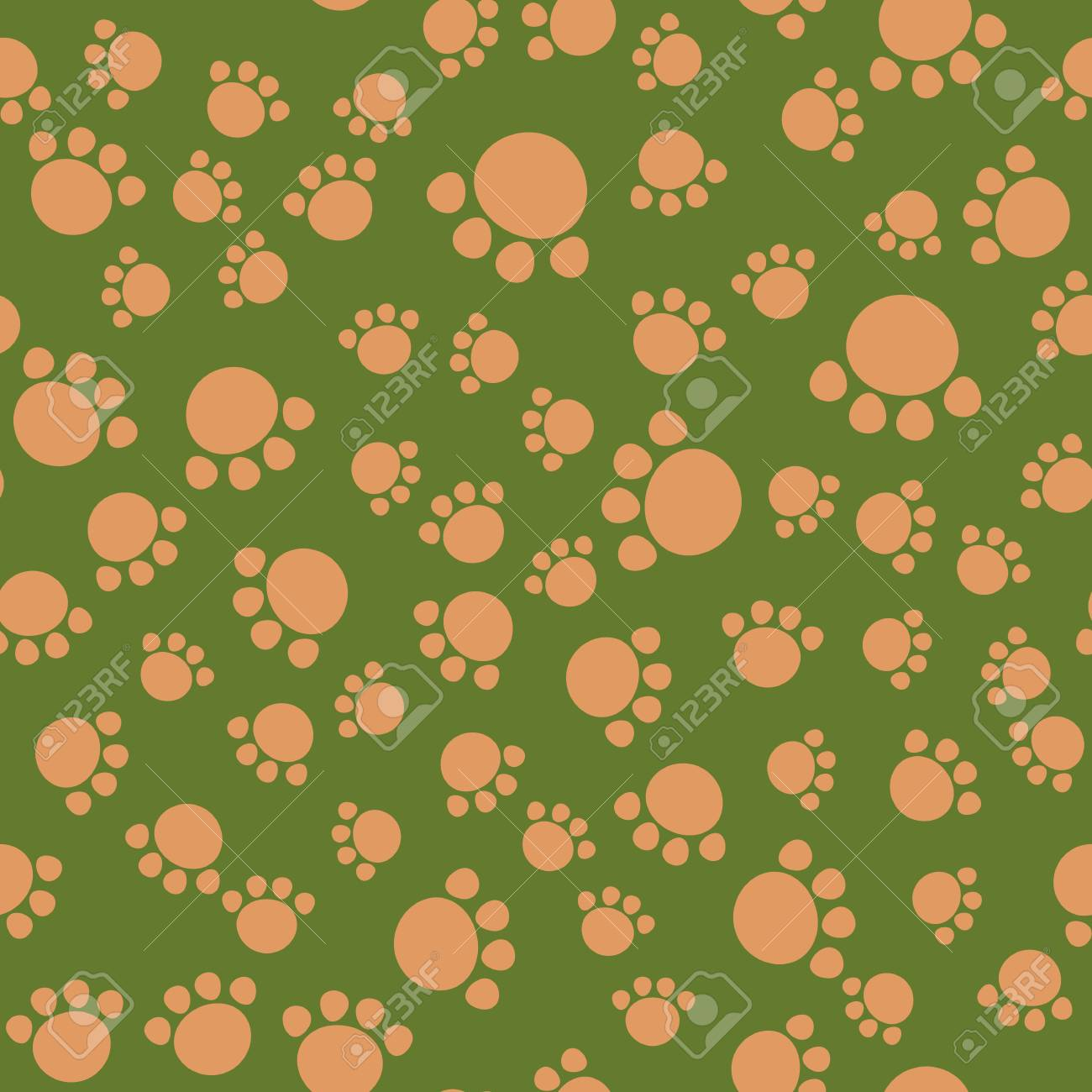 Seamless Kids Pattern Bear Paws Illustration Background Vector