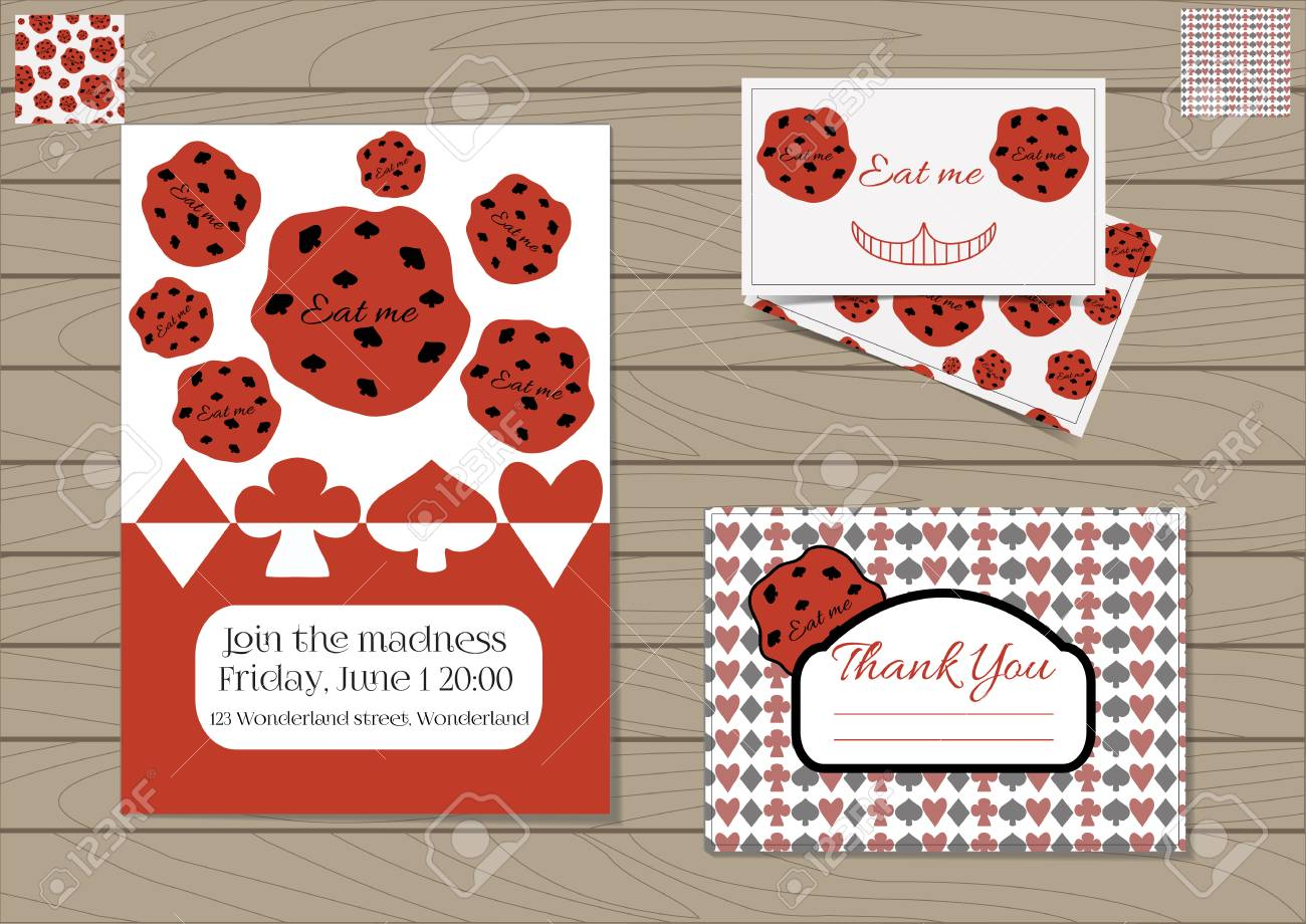 Cookie Eat Me Alice In Wonderland Set Collection Of Invitation Card Thank You Note