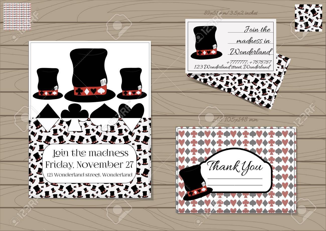 Mad Hatter Hat Alice In Wonderland Set Collection Of Invitation