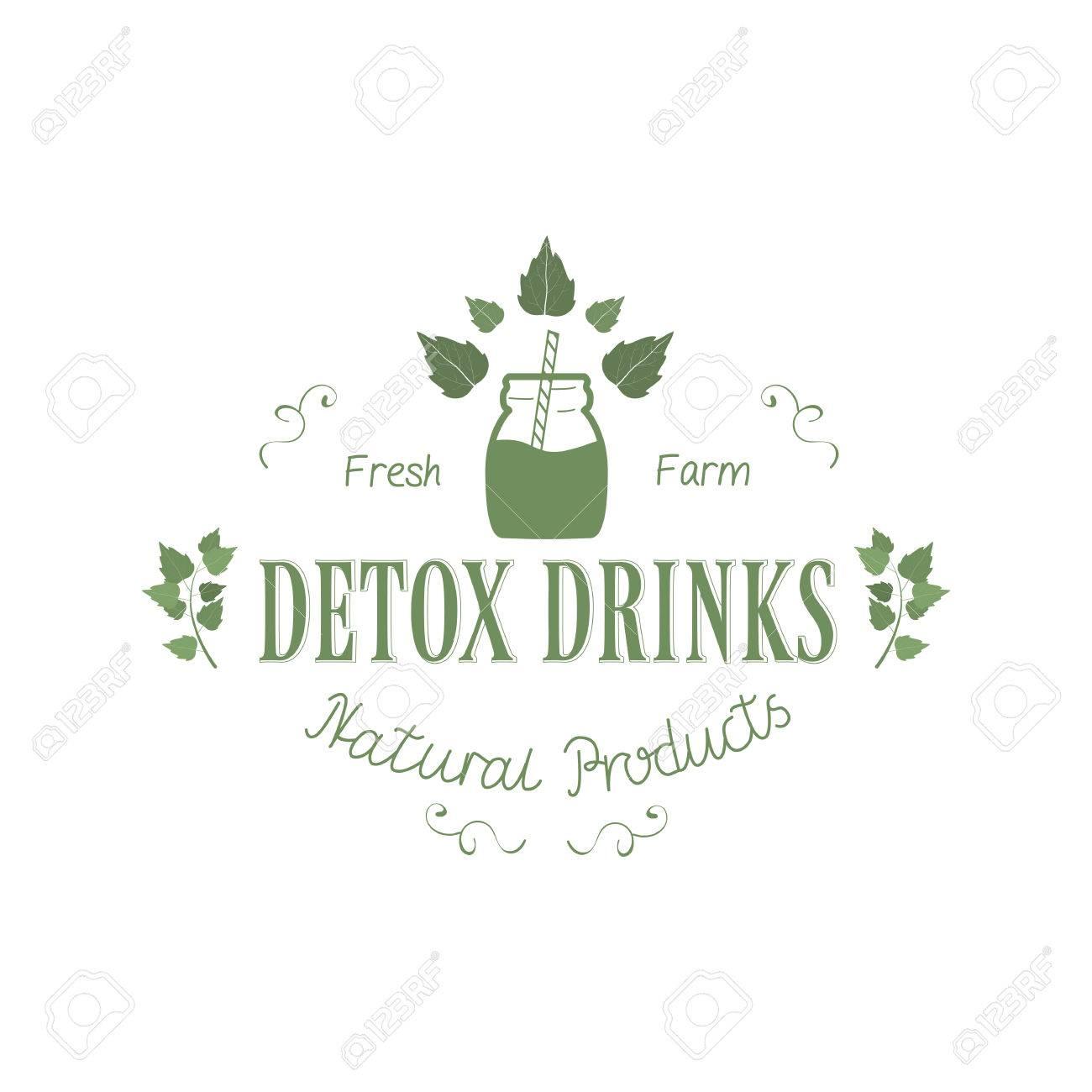 Detox Fresh Farm Getränke Naturprodukte Logo Mit Blatt Isoliert Auf ...