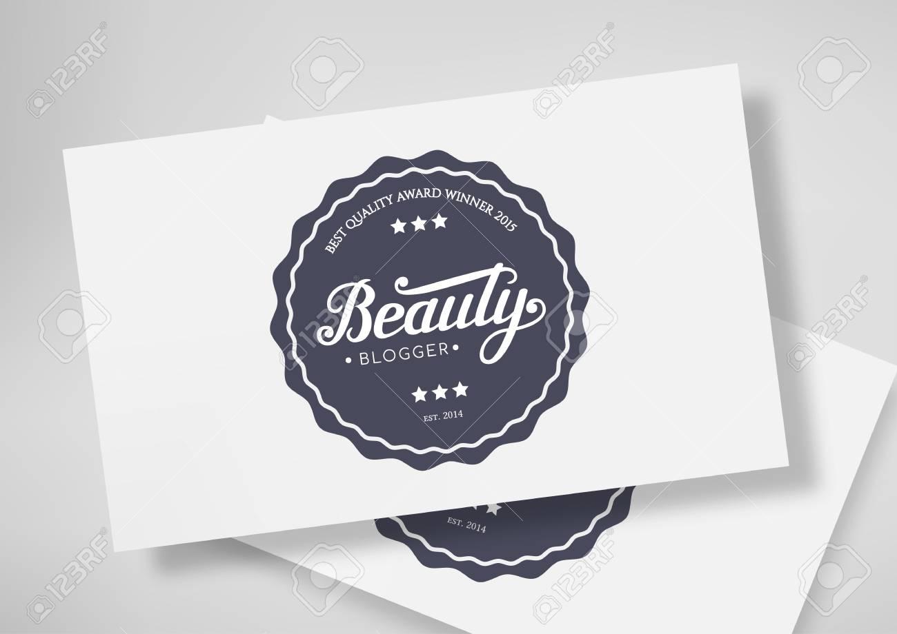 Blogueur Rond De Beaute Dinsigne Avec Le Lettrage Dessine A La Main Isole Sur Modele Carte Visite Illustration Vectorielle Logo Noir Embleme