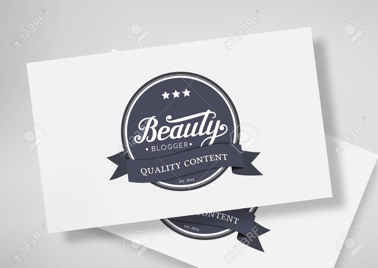 Round badge beauty blogger with hand drawn lettering isolated round badge beauty blogger with hand drawn lettering isolated on business card template stock photo colourmoves