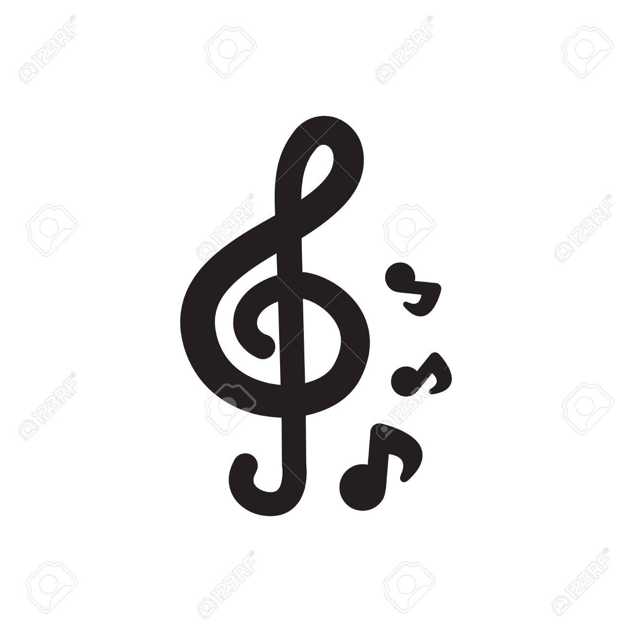 Black Vector Icon On White Background Music Note