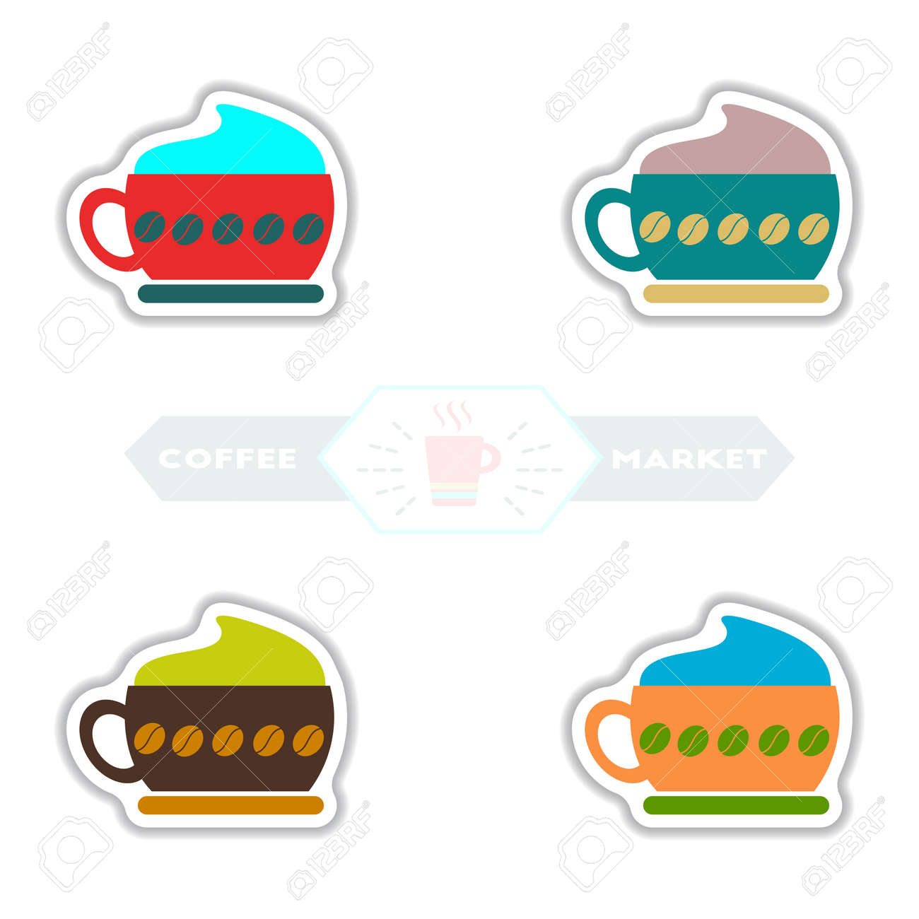 Label Frames And Badges Vector Icon Design Collection Coffee ...