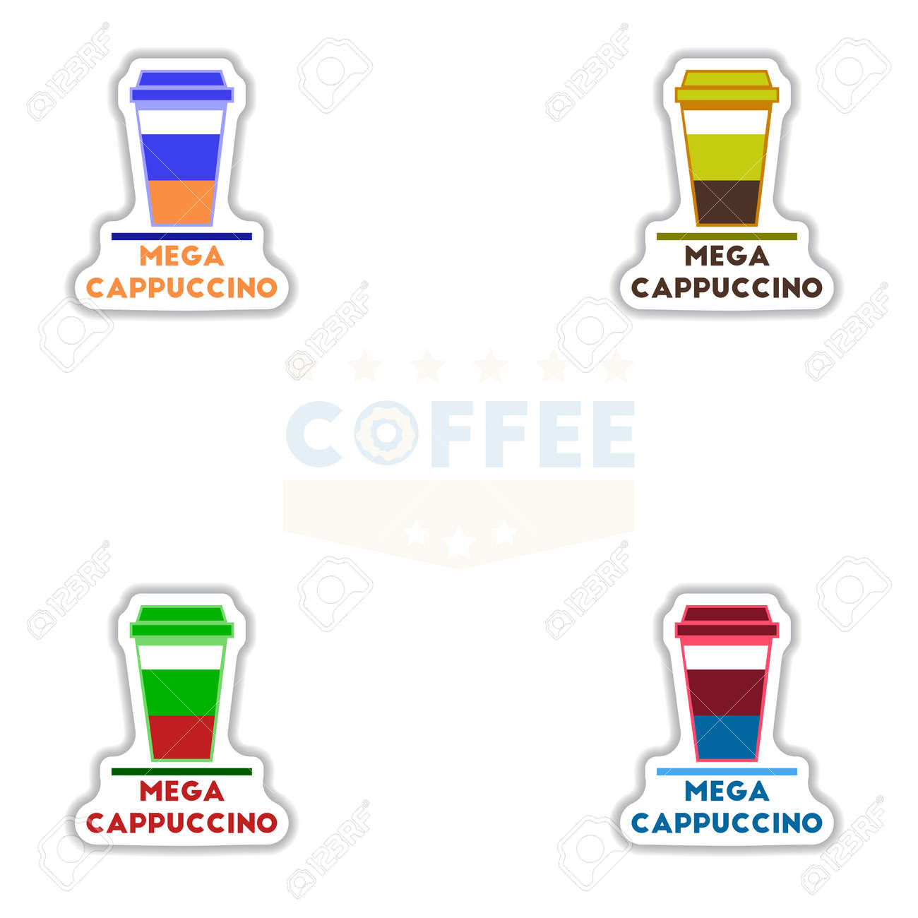 Sets Of Label Frames And Badges Vector Icons Coffee Emblem Coffee ...