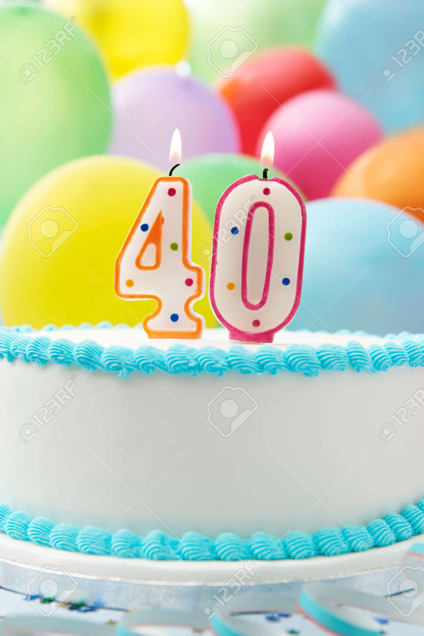 Cake Celebrating 40th Birthday Stock Photo Picture And Royalty Free