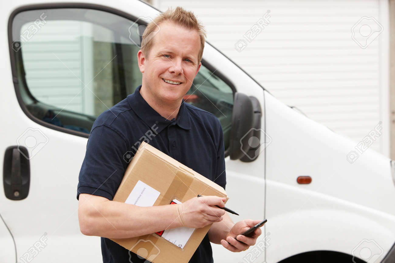 Courier Delivering Package Requiring Signature - 51204829