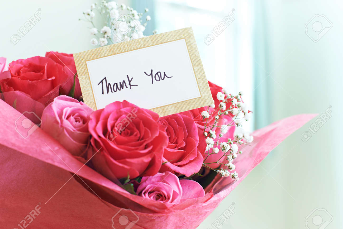 Thank you card in bouquet of flowers stock photo picture and stock photo thank you card in bouquet of flowers izmirmasajfo