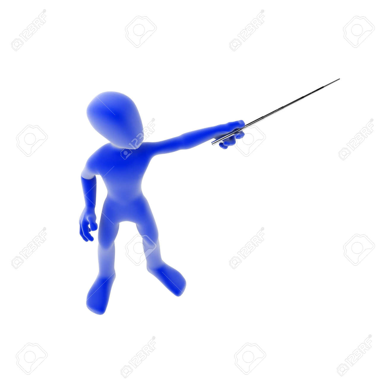 a blue 3d figure pointing over white isolated stock photo picture