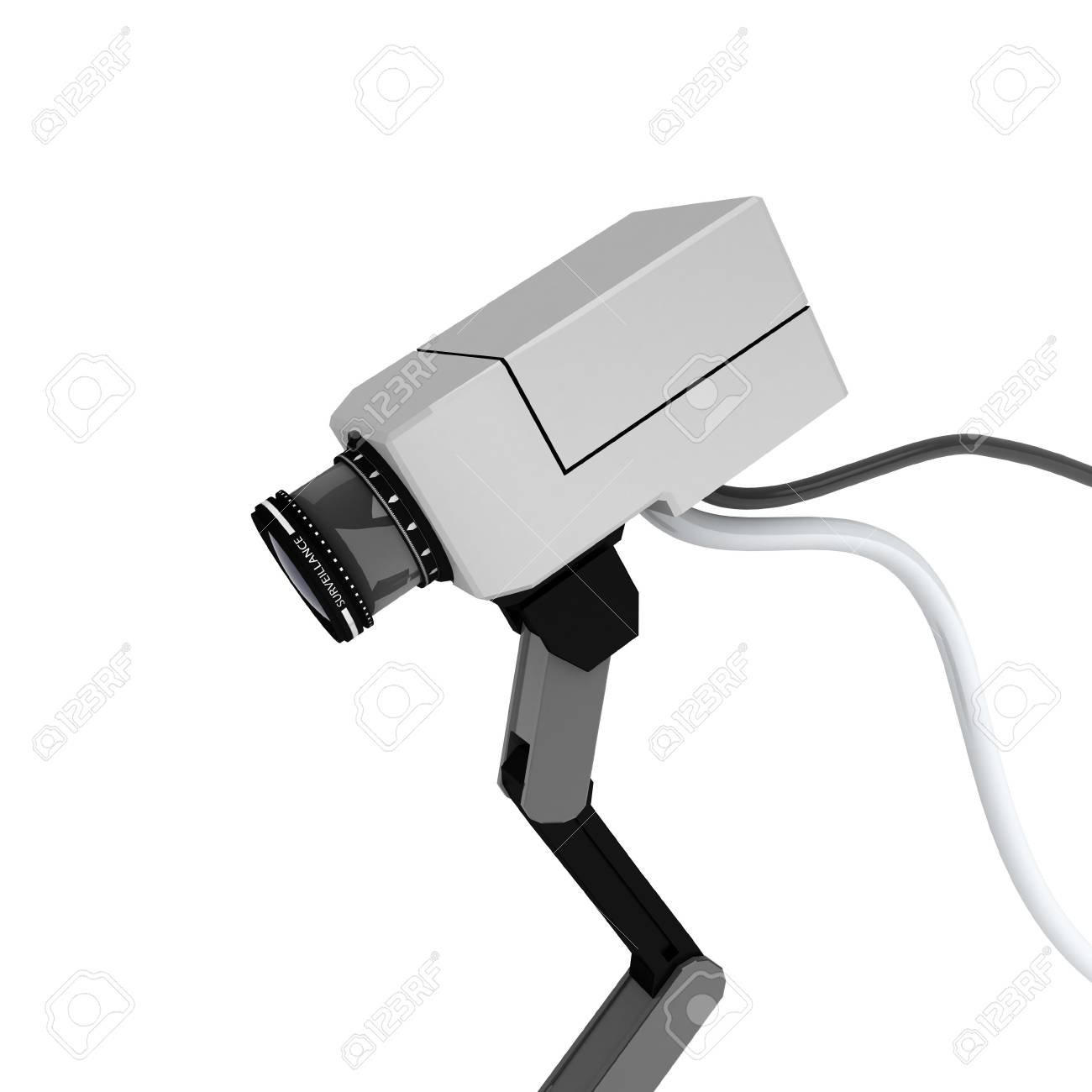 White 3d surveillance camera, over white, isolated Stock Photo - 3019387