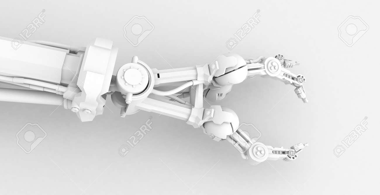 3d robotic hand, over white, isolated Stock Photo - 3238158