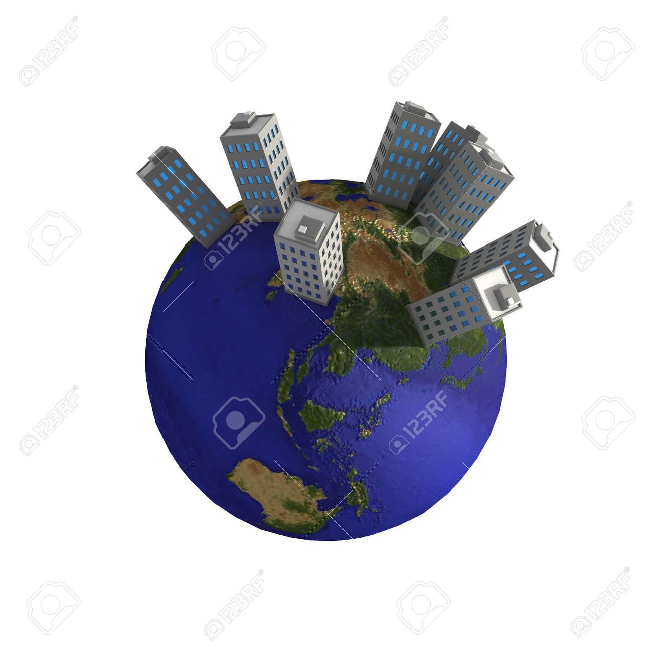 3d globe with cartoon buildings on top Stock Photo - 3320437