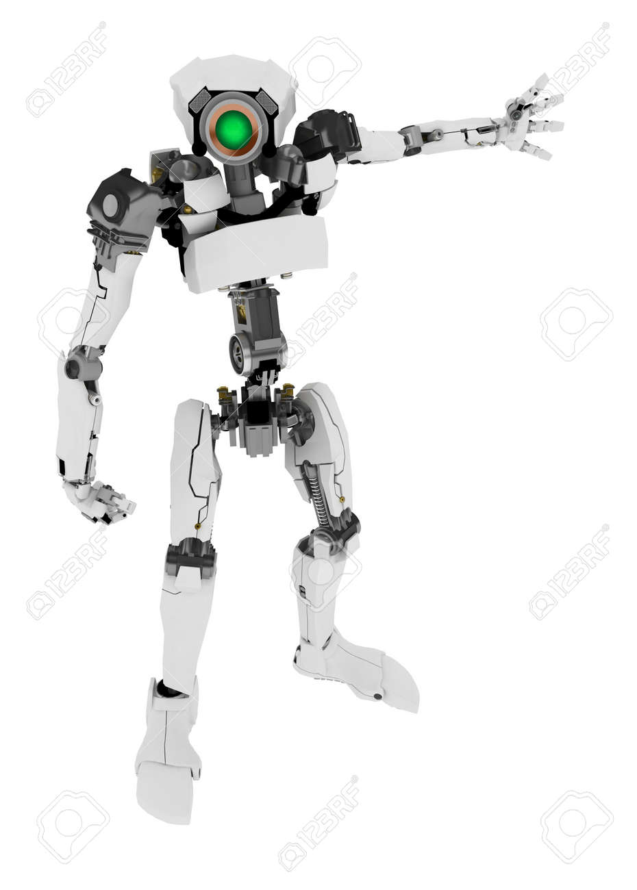 Slim 3d robotic figure, over white, isolated Stock Photo - 3320423