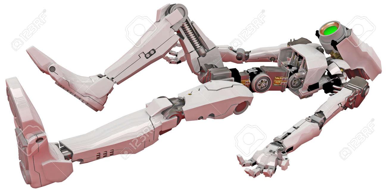 Slim 3d robotic figure, isolated Stock Photo - 4222942