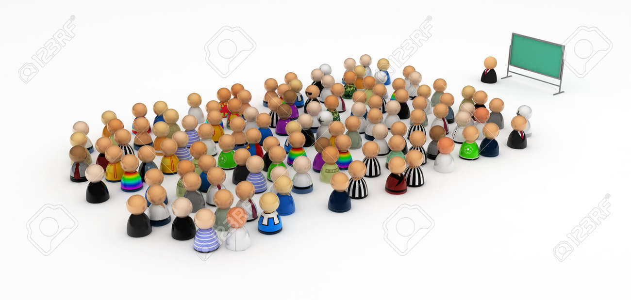 Crowd of small symbolic 3d figures in front of a blackboard, isolated Stock Photo - 5226180