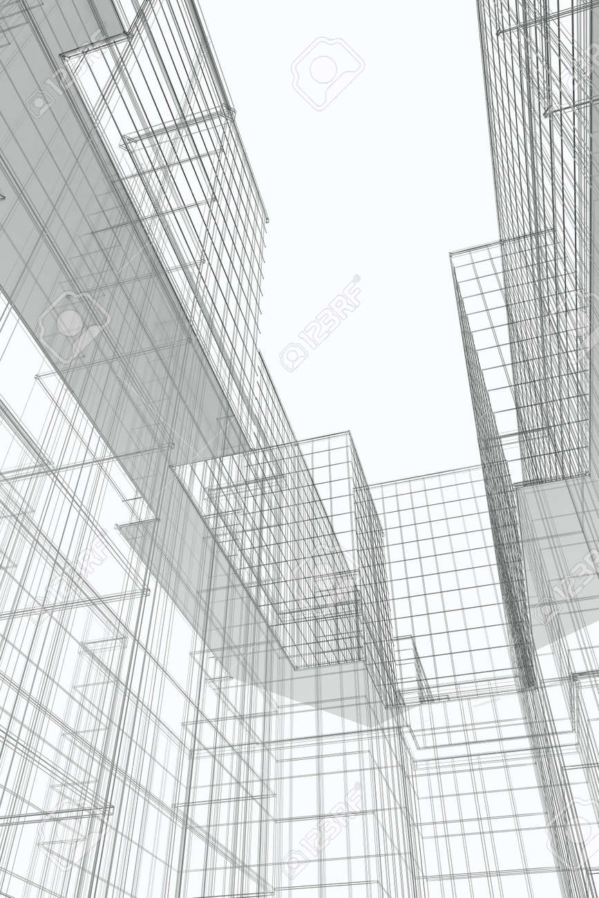 Courtyard view of modern office building, 3d wireframe Stock Photo - 5226187