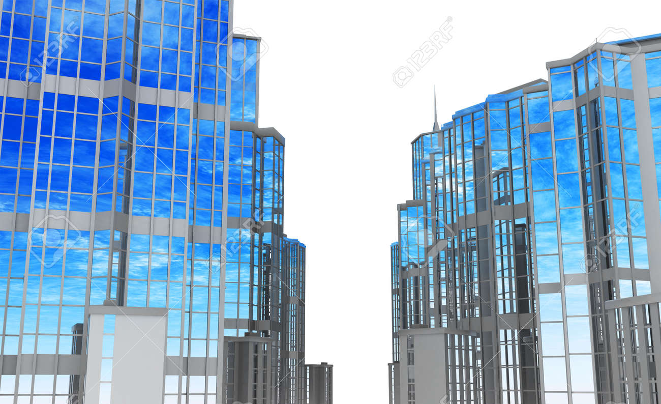 Front 3d view of glass and steel building street sides Stock Photo - 5334198