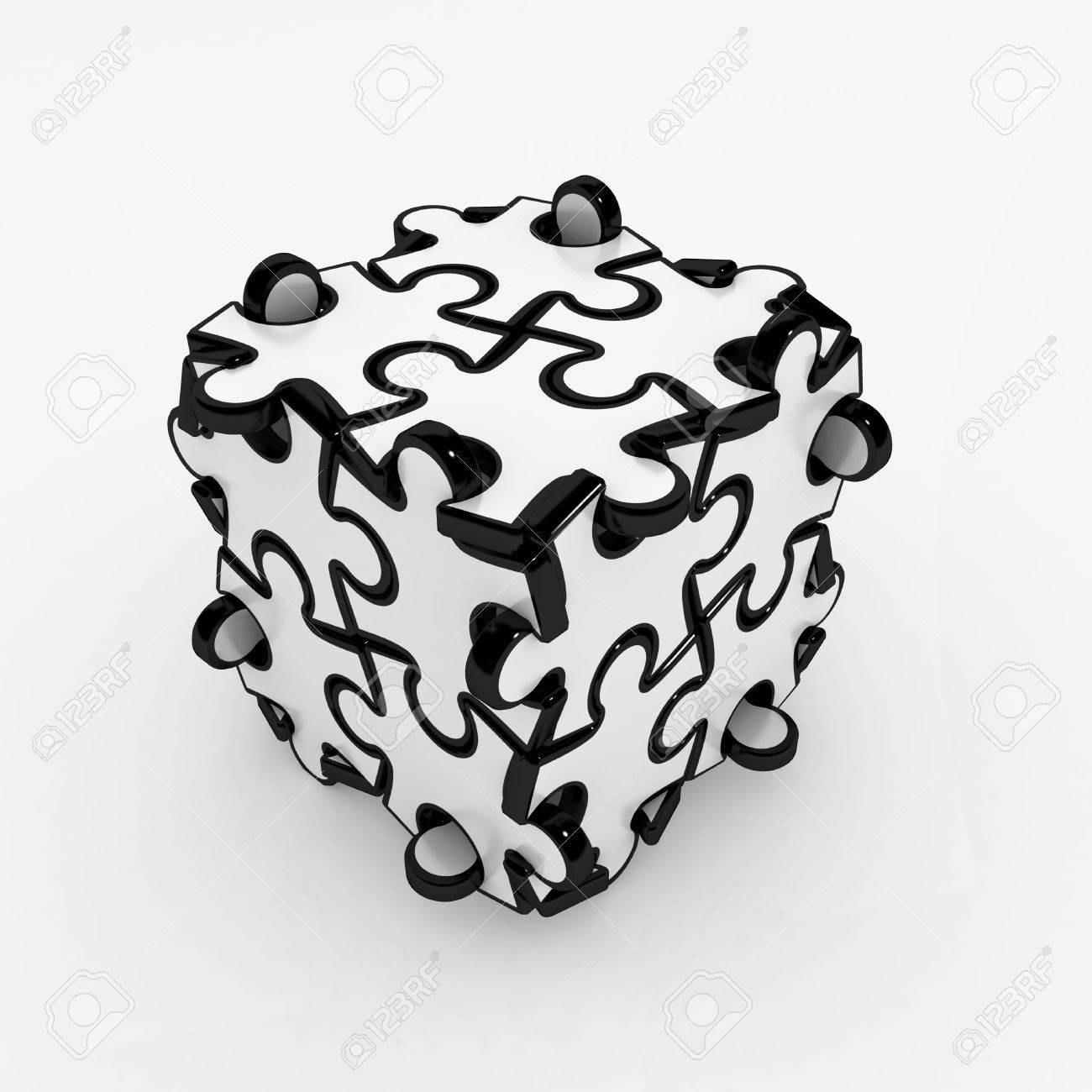 Black And White 3d Jigsaw Puzzle Piece Box Isolated Stock Photo