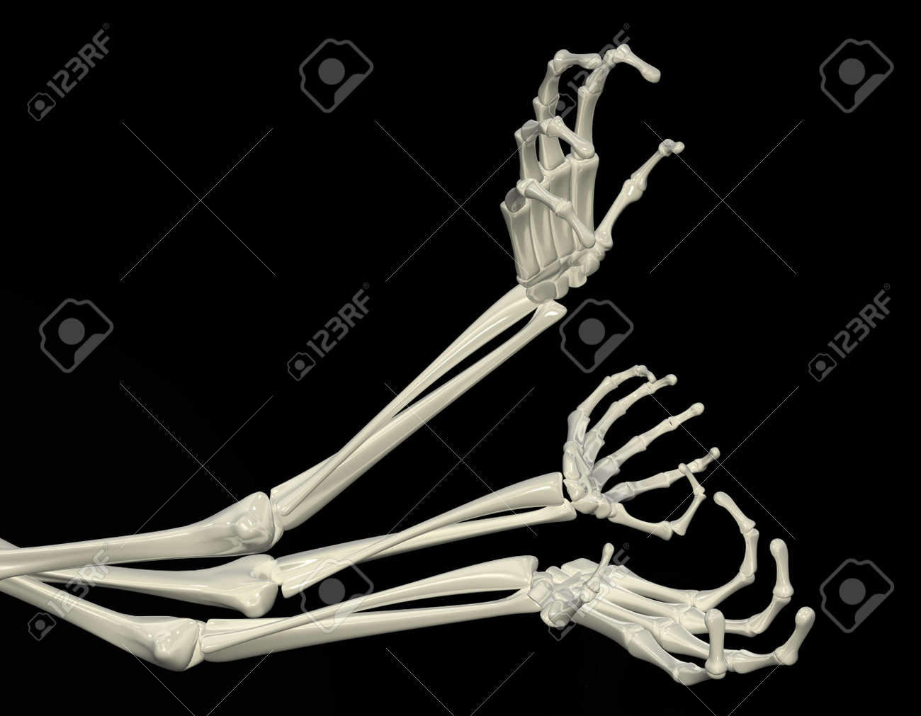 3d Skeletal Arm Isolated Dark Background Stock Photo Picture And