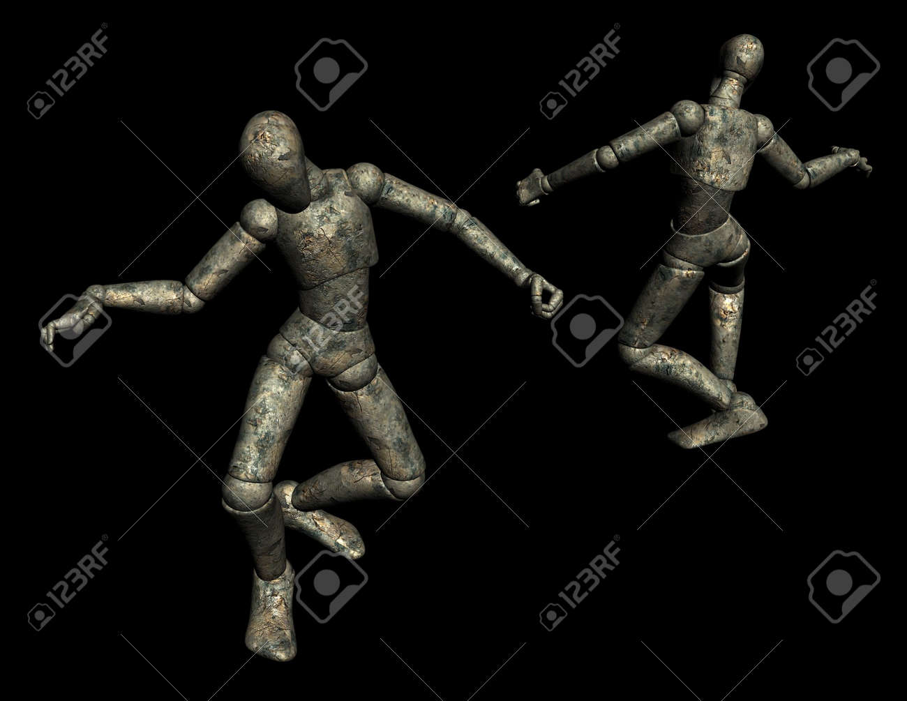 darkened wood 3d mannikin doll front and back views stock photo