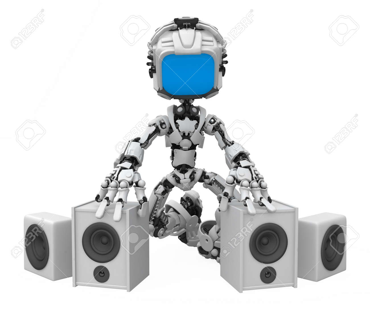 Small 3d robotic figure, over white, isolated Stock Photo - 6342841