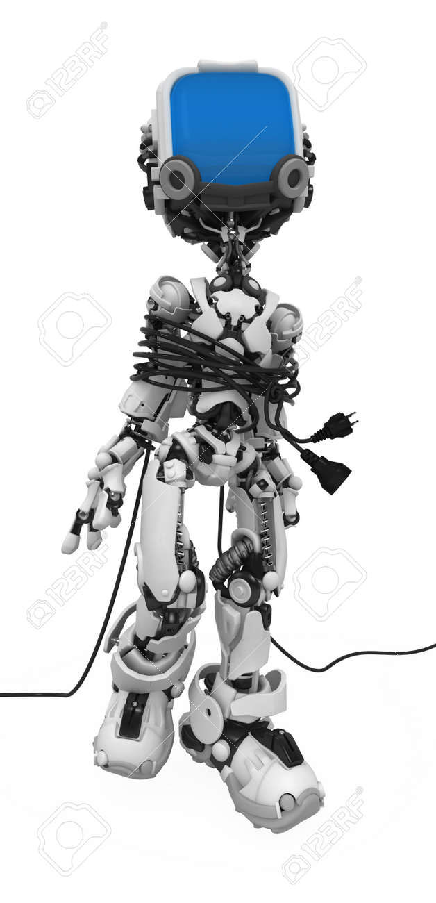 Small 3d robotic figure, over white, isolated Stock Photo - 6383757