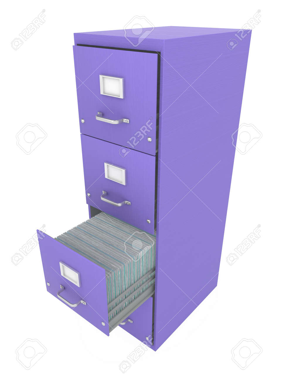 Purple 3d Filing Cabinet With Drawer Open, Isolated Stock Photo ...