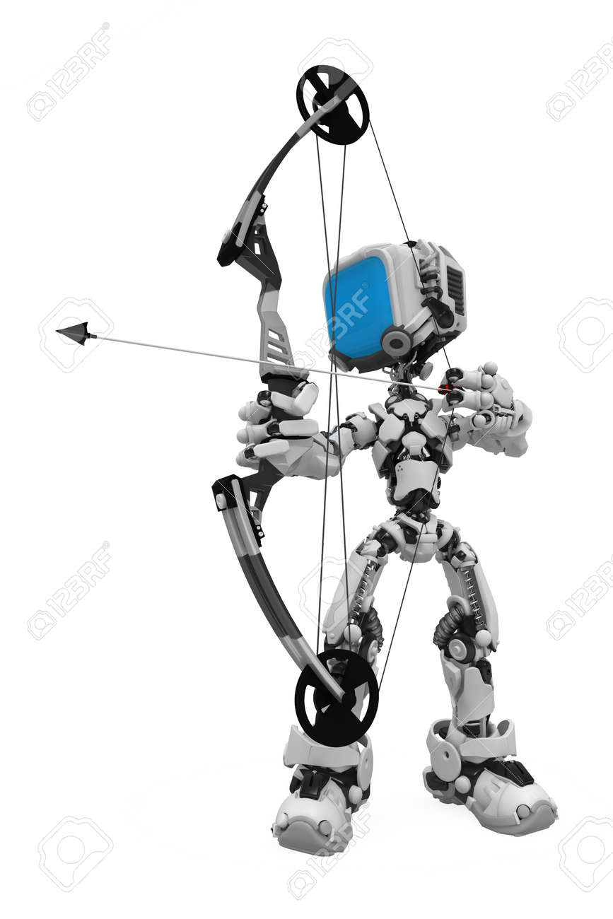 Small 3d robotic figure, over white, isolated Stock Photo - 6484477