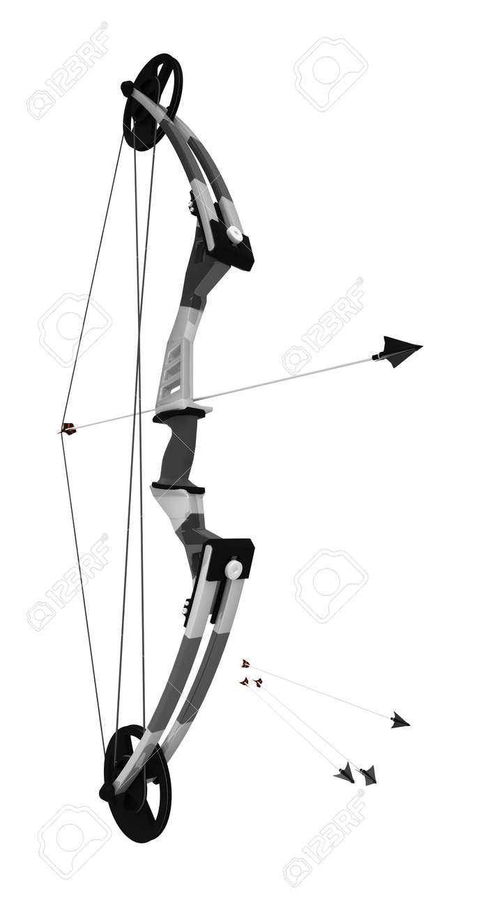 Compound bow 3d model, over white, isolated