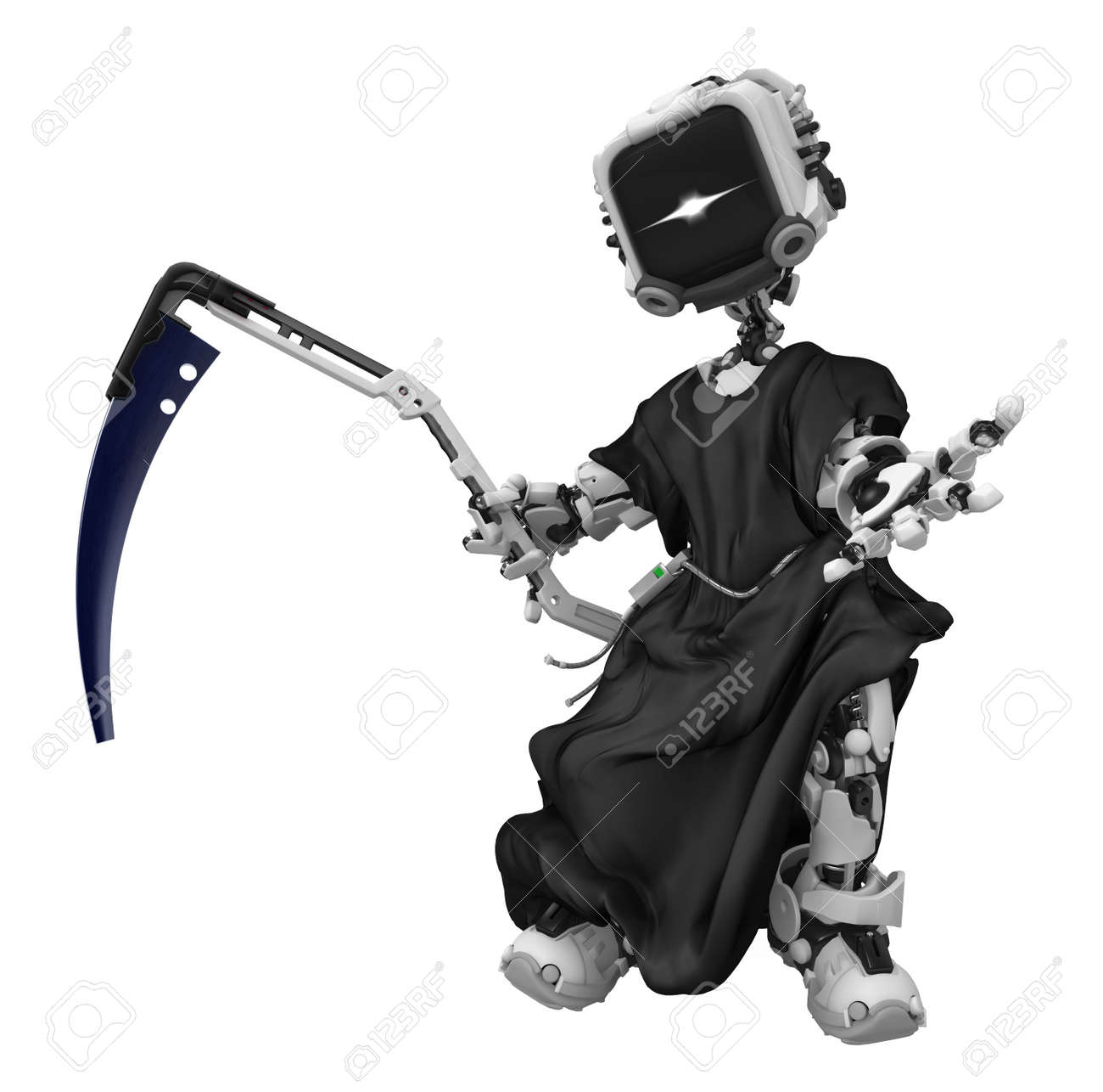 Robotic grim reaper 3d, over white, isolated Stock Photo - 7209336