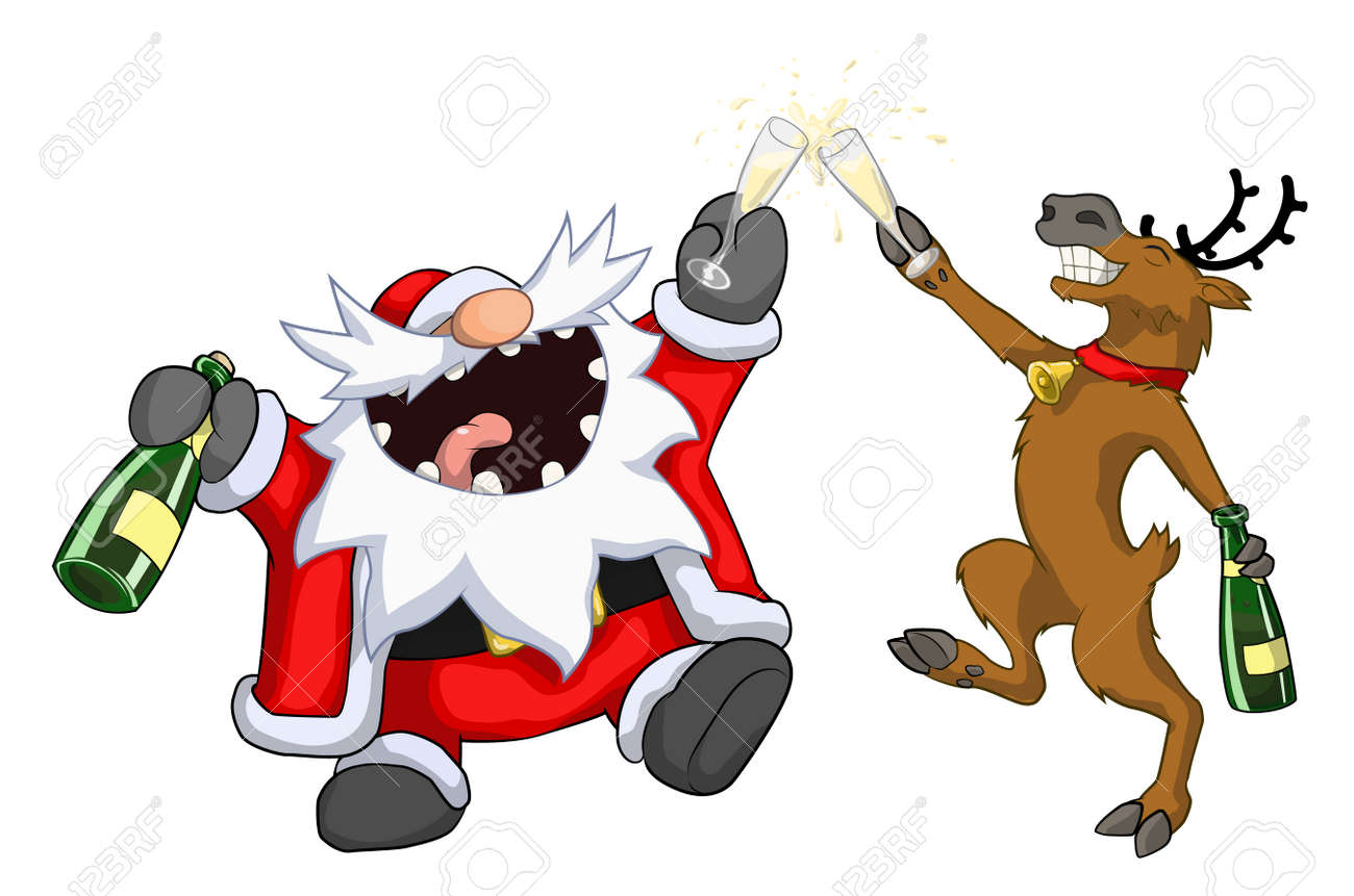 Weihnachtsfeier Cartoon.Santa Claus And Reindeer Raising Glasses Toast Christmas Party