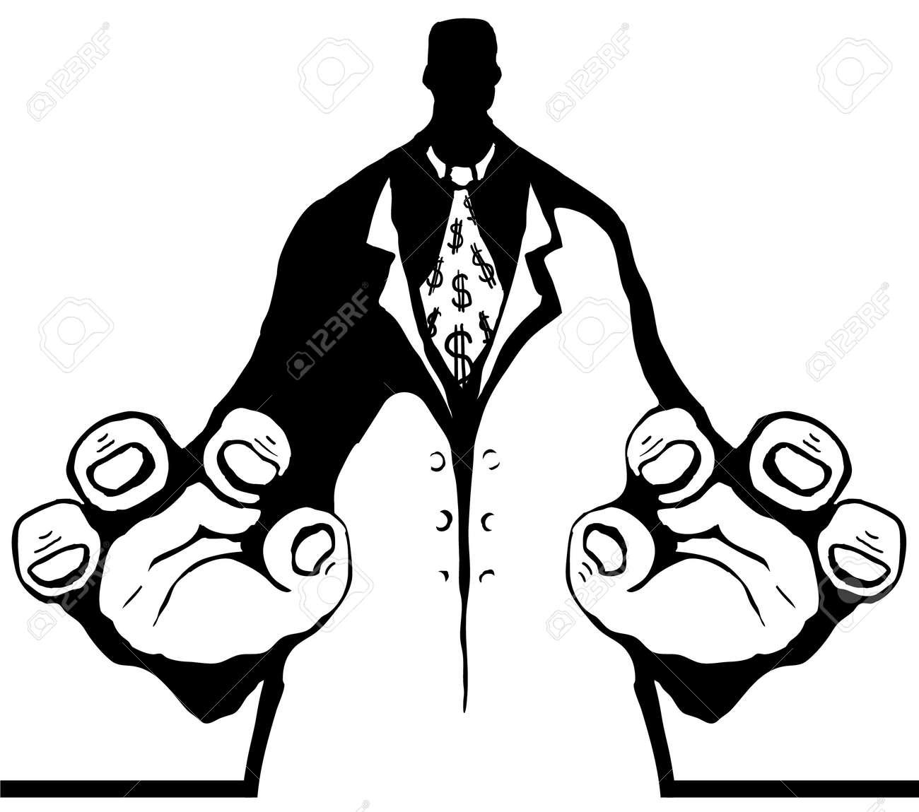 Figura De Burócrata Agarrar Dibujos Animados De Plantilla Negra ...