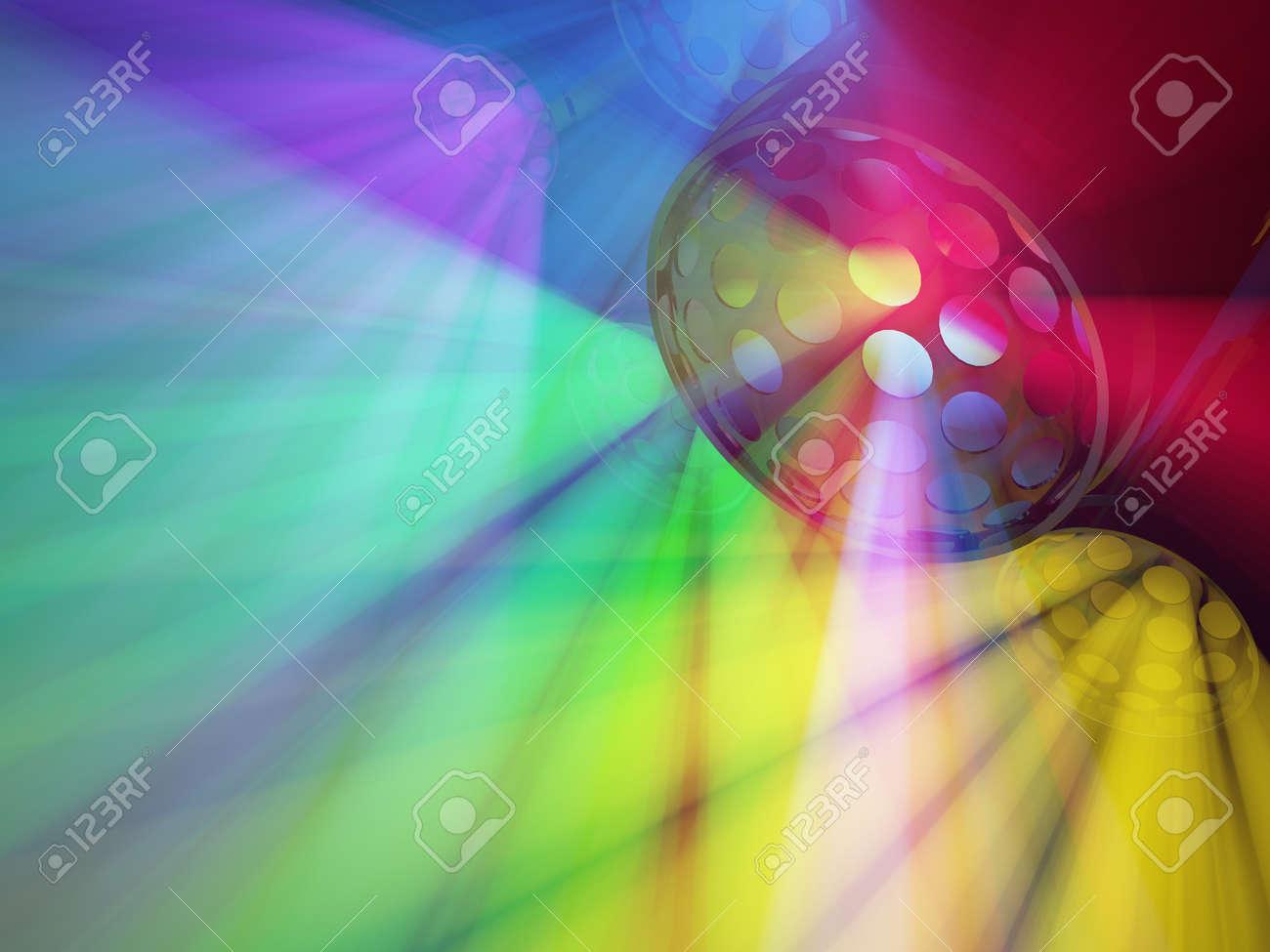 Great Color Fill Strobe Lights Group 3d Illustration, Horizontal Background Stock  Illustration   93311659