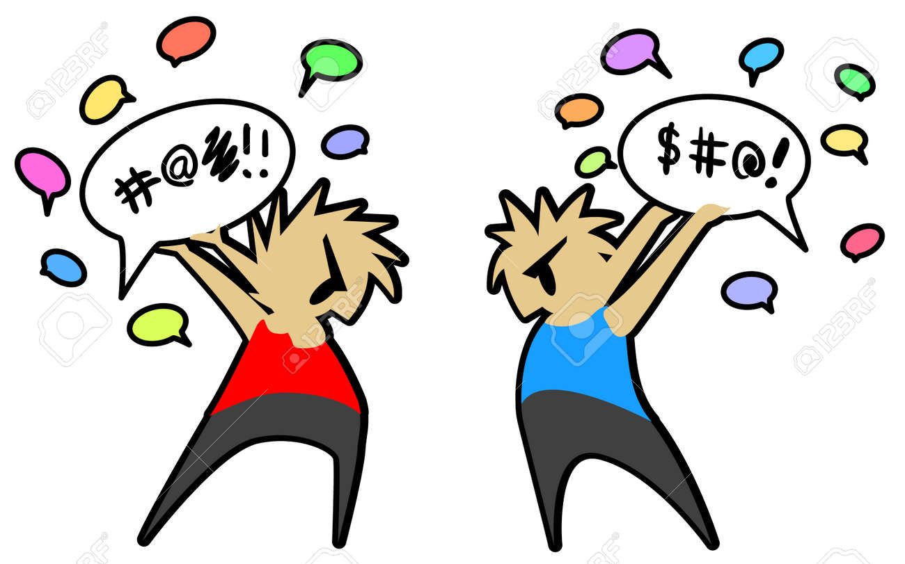 Conversation Fight Two People Cartoon Color Drawing Vector