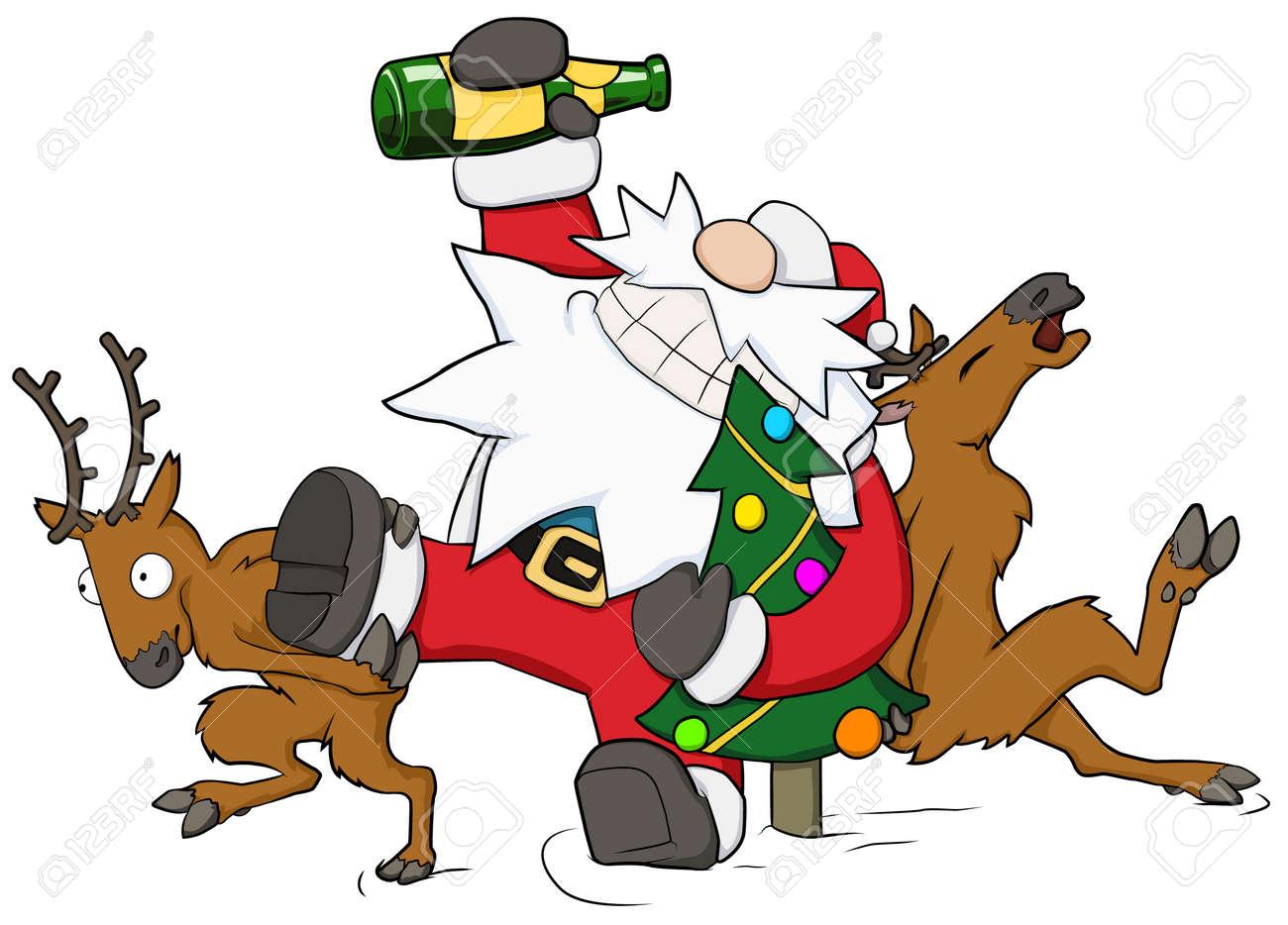 Christmas party celebration, reindeer pushing drunk Santa forward humorous cartoon illustration, horizontal, over white, isolated - 139948799
