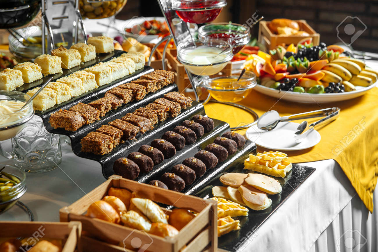 Restaurant lunch catering buffet with different sweets - 154280319