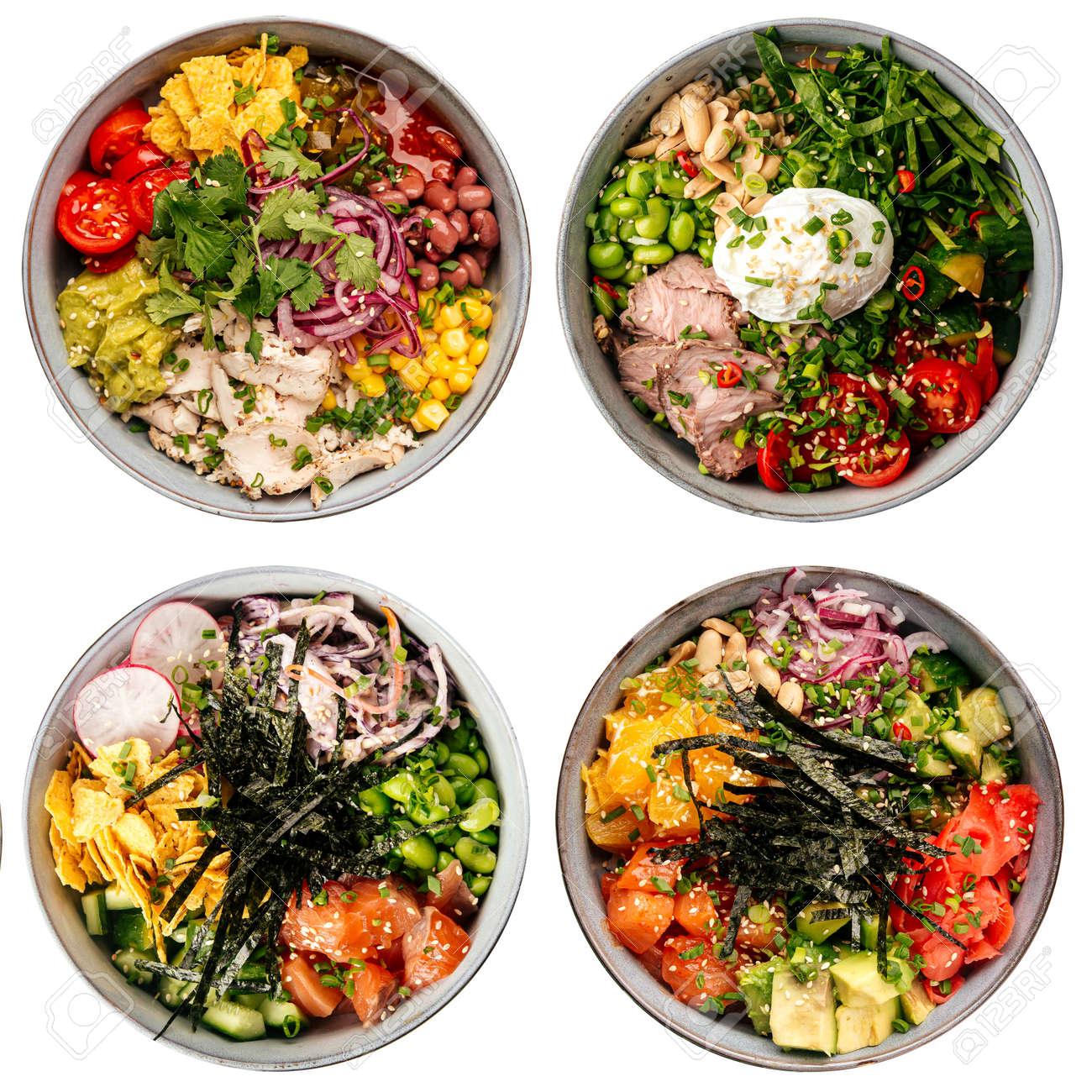 Isolated assorted hawaiian poke bowls menu collage - 168489755