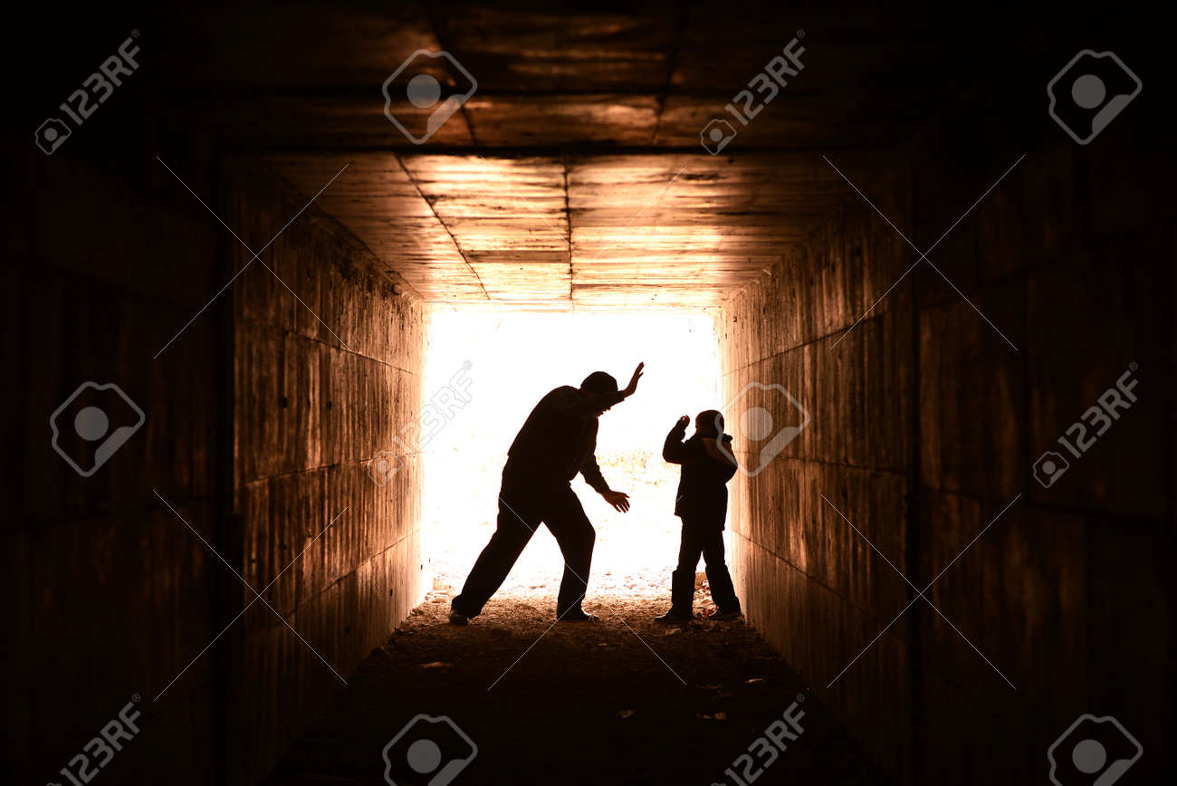 homeless man in the alley that compresses the bottom of the child Stock Photo - 18294647
