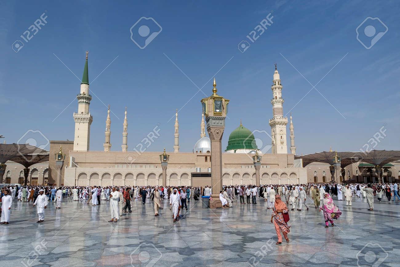medina kingdom of saudi arabia ksa jan 30 muslims marching