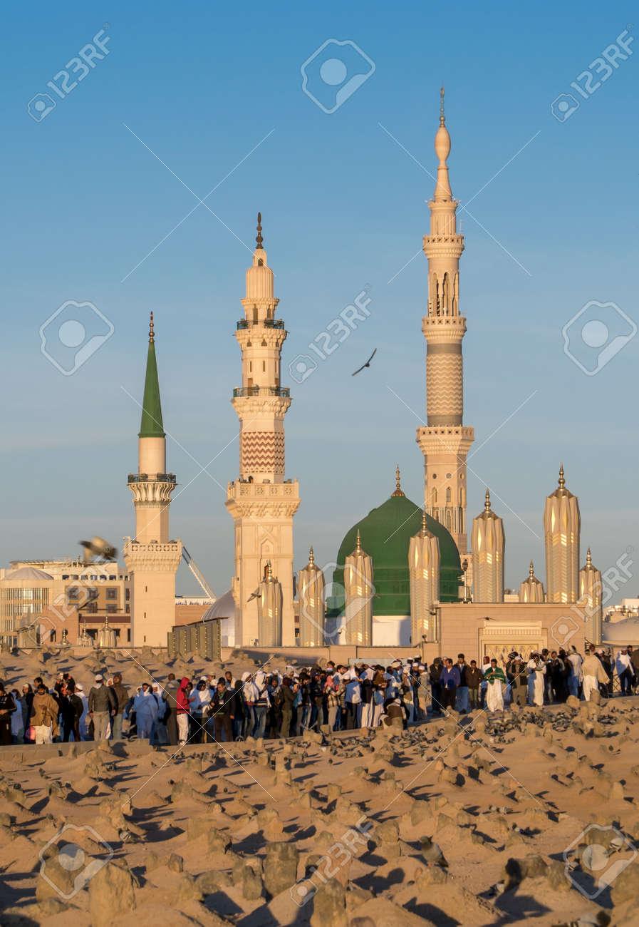 medina saudi arabia feb 03 baqee grave outside nabawi mosque