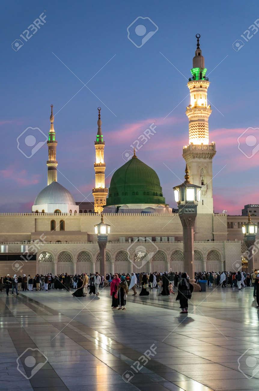 MEDINA, SAUDI ARABIA (KSA) - FEB 3: Muslims marching in front